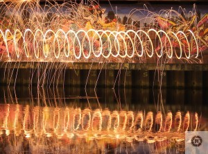 Steel wool spinning under the Bridge of Peace in Drogheda - Damian Smith -Drogheda Photographic Societyamian Smith